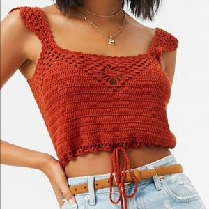 Crochet crop top with drawstring